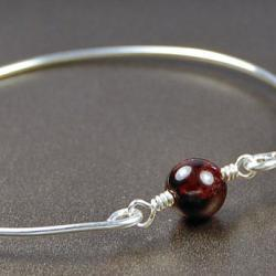 Garnet Bangle Bracelet- Round Garnet Bead and Sterling Silver Filled Wire- Custom Made to Size
