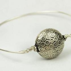 Silver Bangle Bracelet- Round Silver Plated Bead and Sterling Silver Filled Wire- Custom Made to Size